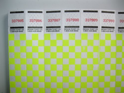 50 Yellow Checkered Consecutively Numbered Tyvek Wristbands 3/4 ()