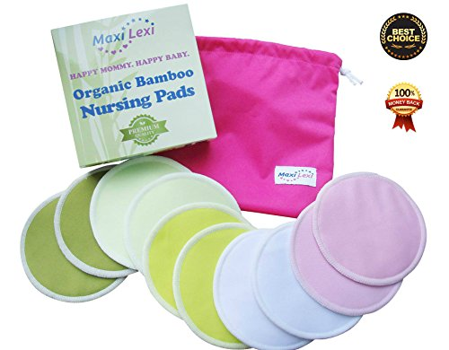 Organic Bamboo Nursing Pads (10 Pack) Bonus Laundry + Travel Bag, Reusable & Washable, Nursing & Milk Bra Pads Made Of Organic, Hypoallergenic, Absorbent & Leak Proof, Premium Soft Breastfeeding Pads