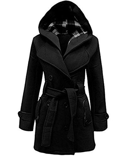 Femmes Janisramone Noir manteau tailles capuche 4XL S hiver vrqBdwr