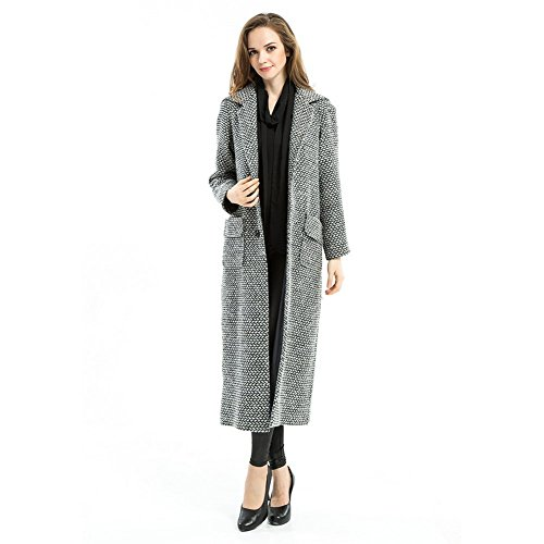 Women's Winter Long Trench Coat Plaid Snowflake Loosen Outwear Manteau Femme