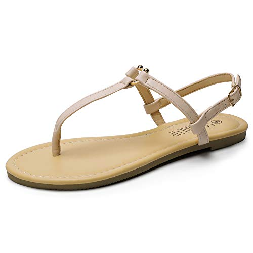 SANDALUP Thong Flat Sandals with U-Shaped Metal Buckle for Women Summer Apricot 09