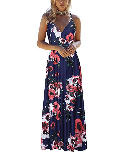 OUGES Womens Summer Deep V Neck Floral Adjustable Spaghetti Strap Beach Maxi Dress(Floral01,L)