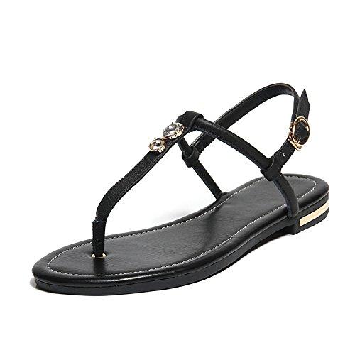 2018 Summer Flat Heel Women Sandals Genuine Leather Flip Flops Women Sandal Casual Flat White Gold,Black,6