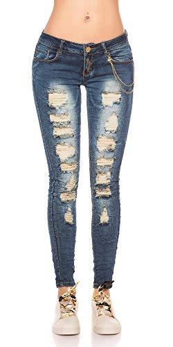 Casual Strappi Jeans Aderenti Elasticizzati Donna Pants Pantaloni Con Store E Rete Denim Blanco 07qw6CO