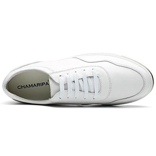 Chamaripa Mens Altezza Crescente Scarpe Casual Traspirante Moda Sneaker 2.36 Pollici H71c26k177d 176 # In Pelle Pieno Bianco