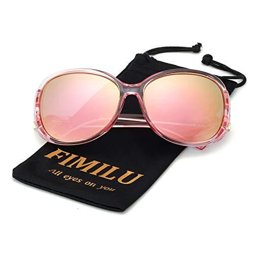 FIMILU Classic Oversized Sunglasses for Women, HD Polarized Lenses 100% UV400 Protection Fashion Retro Eyewear (Pink Frame/Rose Gold Mirrored Lens Oversized Polarized ()