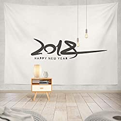 Soopat Tapestry Polyester Fabric Happy Year 2018 Calendar Flyer Greeting Wall Hanging Tapestry Decorations Bedroom Living Room Dorm 80X60 inch