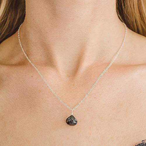 Tiny Black Onyx Teardrop Necklace in Sterling Silver - July Birthstone