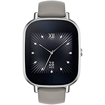 ASUS ZenWatch 2 Silver with Beige Leather Strap 37mm Smart Watch with Quick Charge Battery, 4GB Storage, 1.45-inch AMOLED Gorilla Glass 3 TouchScreen, ...