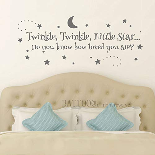 (BATTOO Twinkle Twinkle Little Star Wall Decal Nursery Decals Kids Room Wall Decal Baby Crib Wall Decor Vinyl Stars Decals, 22