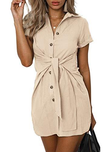 (ZESICA Women's Summer Short Sleeve V Neck Button Down Front Tie Casual Short Tunic Dress Khaki)