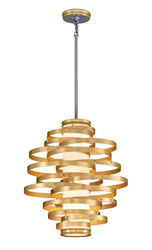 Corbett Lighting Vertigo LED Pendant - 23in - Gold Leaf Finish with Polished Stainless Accents with Opal White Acrylic Diffuser