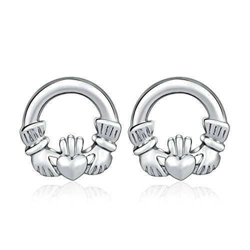(1 Pair Solid Sterling Silver Round Irish Claddagh Crown Heart Celtic Ear Stud Earrings)