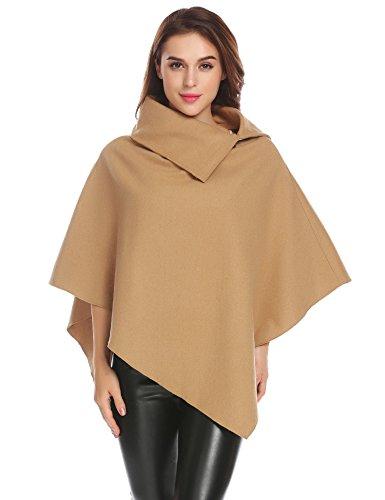 Zeagoo Women's Batwing Cape Wool Poncho Jacket Warm Worsted Cloak Coat