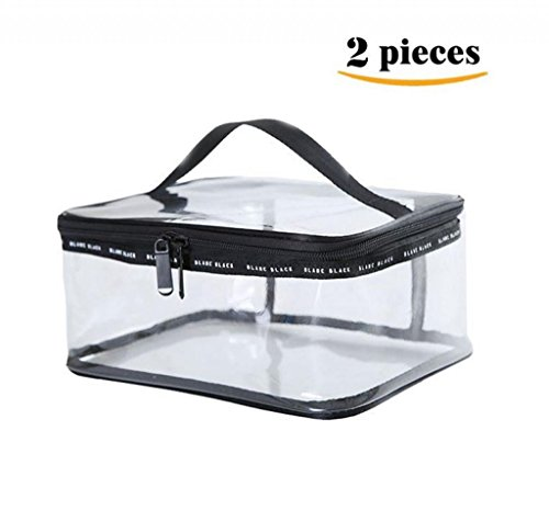 LOUISE MAELYS 2 Pieces Portable Clear Makeup Bag Zipper Waterproof Transparent Travel Storage Pouch Cosmetic Toiletry Bag With Handle Large
