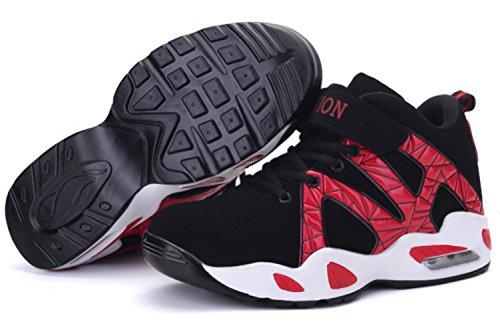 CSDM Uomini New Leisure Air Cushion Scarpe da Basketball Uomini Alto Aiuto Sport Casual Scarpe , red , 44