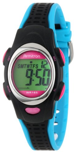 - Armitron Sport Unisex 456967BKBL Chronograph Black and Turquoise Resin Strap Watch