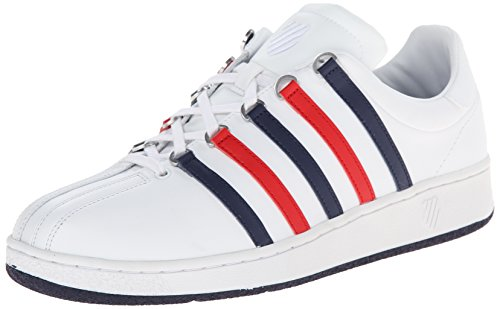 K-Swiss Men's Classic Vintage Updated Iconic Shoe, White/Navy/Red, 8.5 M US from K-Swiss
