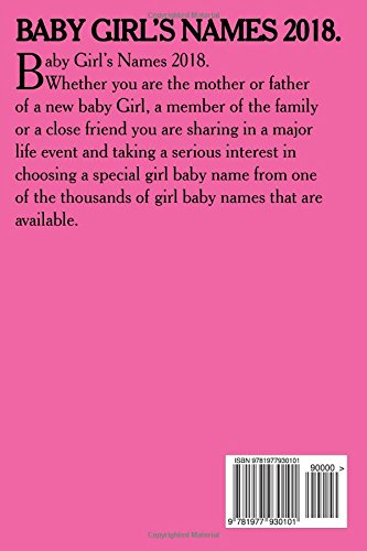 Baby Girl's Names 2018 : Kerry Butters : 9781977930101: Amazon com