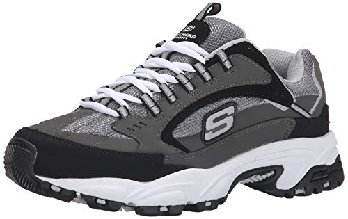 Skechers Sport Men's Stamina Nuovo Cutback Lace-Up Sneaker,Charcoal/Black,9 M US (Best Skechers For Walking On Concrete)