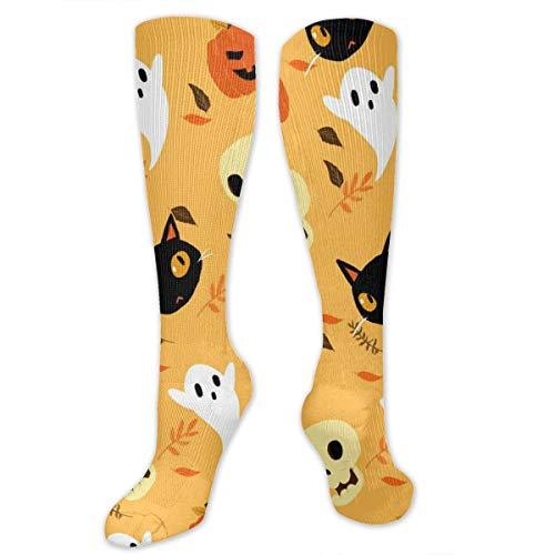 Recovery&Cushioned Compression Socks (20-30 MmHg) For Women, Celebrating Halloween Skull Ghost Black Cat Pumpkin Pattern Nursing Graduated Long Stockings For Travel/Pregnancy]()
