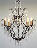 """Wrought Iron Crystal Chandelier Chandeliers Lighting H27"""" x W21"""""""