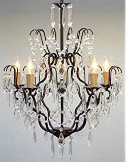 Antique bronze 6 light crystal and iron chandelier amazon wrought iron crystal chandelier chandeliers lighting h27 x aloadofball Image collections
