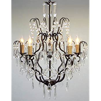 Wrought Iron Crystal Chandelier Chandeliers Lighting H27\