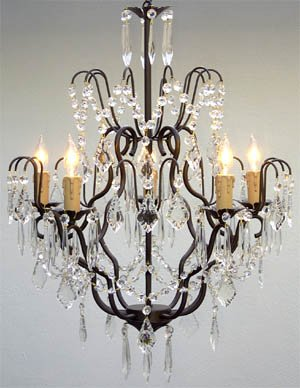 Swarovski crystal trimmed chandelier wrought iron crystal swarovski crystal trimmed chandelier wrought iron crystal chandelier chandeliers lighting h27 x w21 aloadofball Gallery