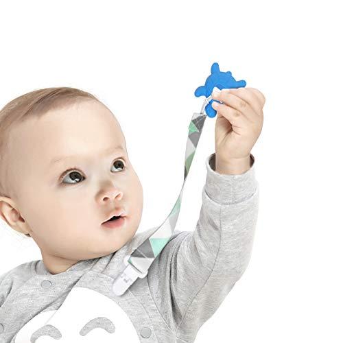 Schnullerkette Baby for Junge Passt Alle Schnuller Baby Zahnen Spielzeug 4 Pack Schnuller Halter Leinen Set Baby Dusche