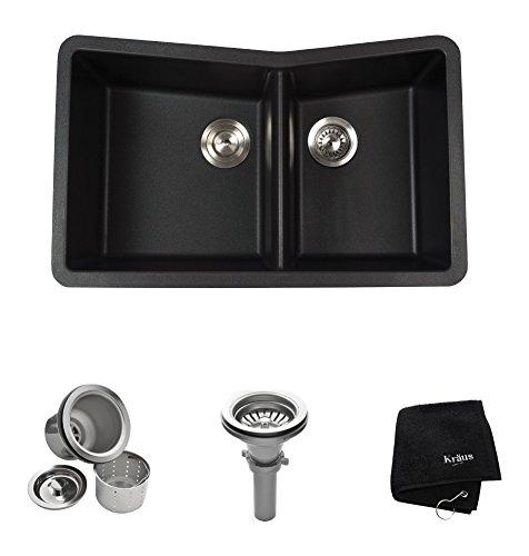 Kraus KGU-431B 33 inch Undermount 60/40 Double Bowl Black Onyx Granite Kitchen Sink