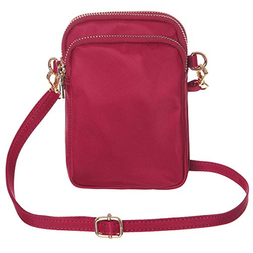 HAIDEXI Nylon Small Crossbody Bags Cell Phone Purse Smartphone Wallet For Women (A-RED)
