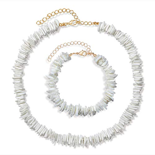 (VOGUEKNOCK Shell Necklace and Anklet Bracelet Bohemian Tropical Hawaiian Beach Puka Chips Shell Surfer Choker Necklace Jewelry for Men Women (Choker Bracelet Set))