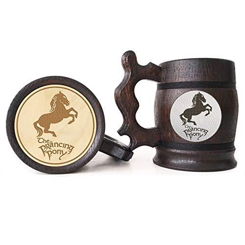 (The Prancing Pony Wooden Beer Mug, Lord Of The Rings Beer Gift, Hobbit Mug, Prancing Pony Pub Inspired Tankard, LOTR Gift,)