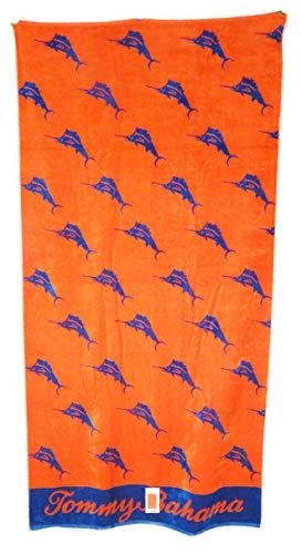 Tommy Bahama 36 x 68 Navy Blue Swordfish On Orange Background Double Sided Beach Towel