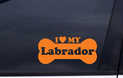 """I Love MY LABRADOR vinyl decal 3.5""""x7"""" ORANGE Free for sale  Delivered anywhere in USA"""