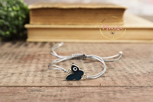 Evil Eye Bracelet. Blue Butterfly Evil Eye Grey String Kabbalah Chakra Bracelet. Amulet, Talisman. Celebrity Style. Lucky, Women, Men, - Kids Style Celebrity