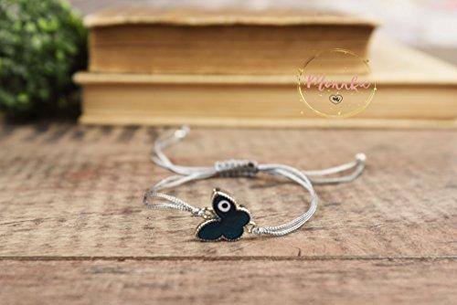 Evil Eye Bracelet. Blue Butterfly Evil Eye Grey String Kabbalah Chakra Bracelet. Amulet, Talisman. Celebrity Style. Lucky, Women, Men, - Kids Celebrity Style