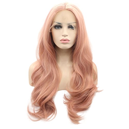 Arimika Wig 26 Inch Long Wavy Layered Pink Heat Safe Synthetic Hair Lace Front Wig Decent Parting Space Transparent Lace White or Thin Scalp