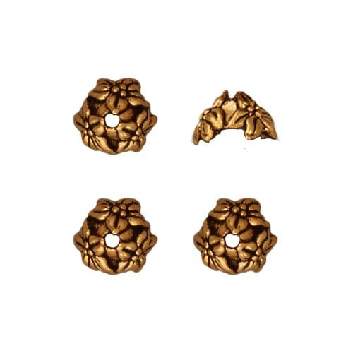 TierraCast Antiqued 22K Gold Plated Lead-Free Pewter Jasmine Bead Caps 7mm (4)