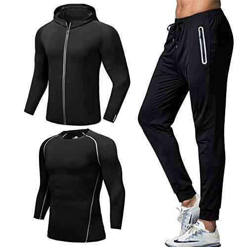 Men fitness suit 3 Pcs Mens Fitness Gym Clothing Set Sports Wear Exercise Clothes Men Activewear Base Layers Shirts…