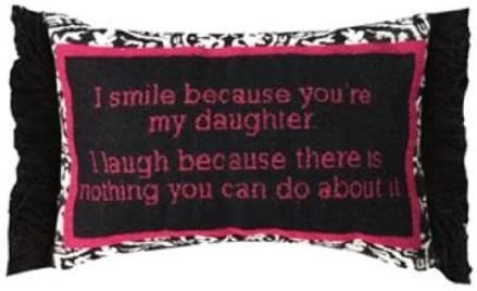 Manual 12.5 x 8.5-Inch Chenille Decorative Throw Pillow, I Smile I Laugh Daughter
