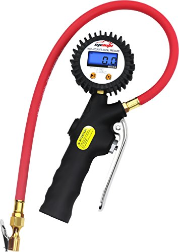 EPAuto Digital Tire Inflator with Pressure Gauge and Straight Lock-On Air Chuck (Air Chuck Gauge)