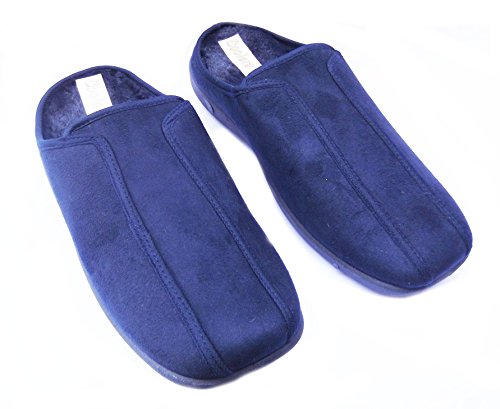 Enfriadores de para hombre zapatillas zuecos Mule Estilo microfibra con cálido forro de piel sintética en caja regalo. azul marino