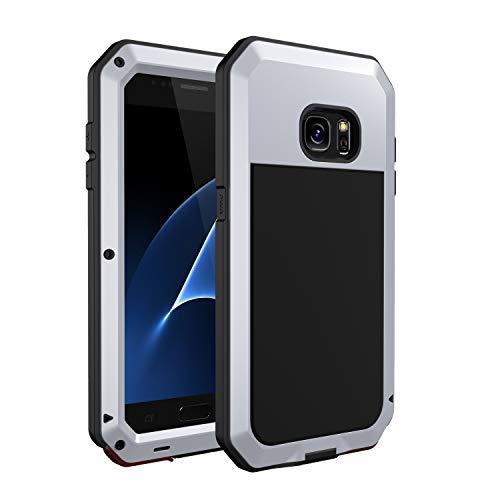 seacosmo Funda Metal para Samsung Galaxy S7 [Compatible con Carga Inalámbrica] Funda Antigolpes 360 Grado Militar Anti-rayones para Samsung S7 (Sin Protector de Pantalla)- Plata