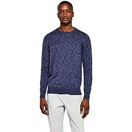 Men's Slim-Fit Lightweight Cotton Crew-Neck Contrast Sweater