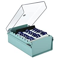 Acrimet 3 X 5 Card File Holder Organizer Metal Base Heavy Duty (Green Color with Crystal Plastic Lid Cover)