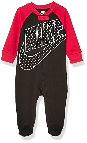 Nike Baby Sportswear Graphic Footed Coverall, Black/Rush Pink, 6M (Nike Baby Clothes)