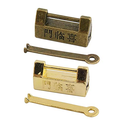 Garneck 2pcs Vintage Antique Old Chinese Lock Retro Padlock with Key for Cabinet Jewelry Box Drawer Suitcase (Golden Antique Color)