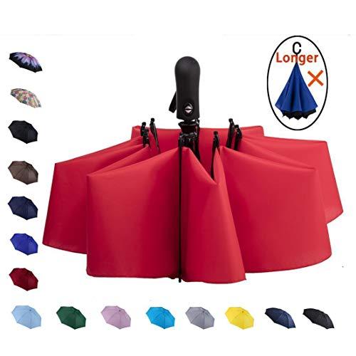 NOOFORMER Auto Compact Travel Folding Inverted Reverse Light Windproof Car Golf Umbrella